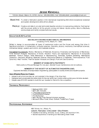 Resume Sample For Mechanical Engineering Student New Mechanical
