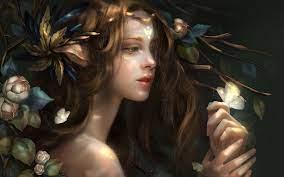Wallpaper Fantasy girl, flowers ...