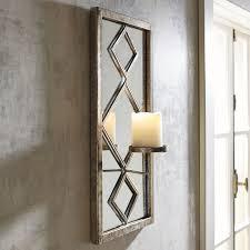 Diamond Framed Mirror Pillar Candle Wall Sconce