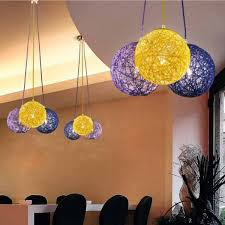 ball 1022 silven light chandelier suspension 3 globes in colourful rope lighting for bedroom