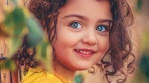 Smiley Curly Hair Blue Eyes Cute Girl ...