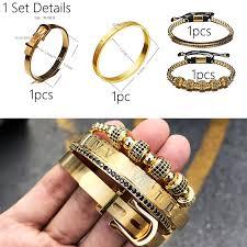 4pcs/<b>Set Hot</b> Men Titanium Steel Roman Numeral Bracelet ...