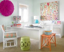 feminine office decor. View In Gallery Decor And Wall Art Adds Color To The White Home Office [Design: Leigh Olive Feminine