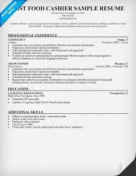cashier experience spectacular resume work experience fast food on sample cashier