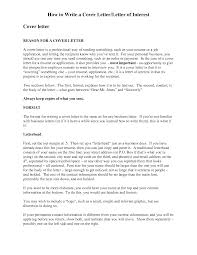 How To Wrie A Cover Letter Of Interest Or Basic Letter Of Interest