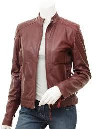 women s oxblood leather biker jacket cloverdale front