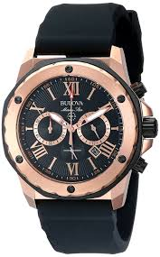 bulova men s designer chronograph watch rubber strap water bulova men s designer chronograph watch rubber strap water resistant rose gold marine star 98b104 bulova amazon co uk watches