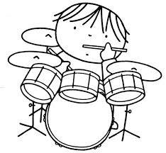 Kleurplaat Drumstel Music Staff Ideas Muziek Kunst Muziek Orkest