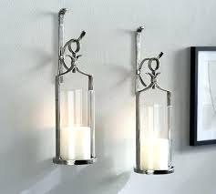 wall mounted candle sconce wall candle fixtures wall mount silver pottery barn within candle sconces ideas