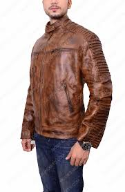 men vintage cafe racer brown leather jacket