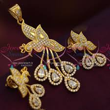 ps7095 peacock design full ad white pendant earrings set fashion jewellery