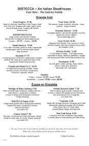 Soup Kitchen Menu Bistecca An Italian Steakhouse New American Cuisine With An