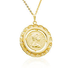 coin necklace queen elizabeth gold