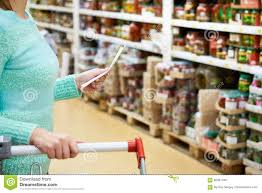 Grocery Store Product List Woman Housewife With List Shopping In Shop Stock Photo Image Of