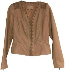 hinge tan leather jacket image 0