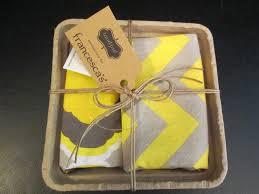 details about mud pie tea towel gift basket set of 2 gray yellow towels nip