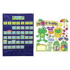 Calendar Pocket Chart Set Amazon Com Bundle Includes 2 Items Carson Dellosa Deluxe