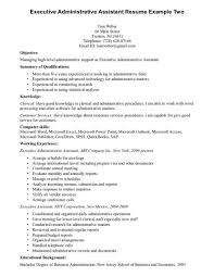 Executive Assistant Resume Summary Administration Office Su Sevte