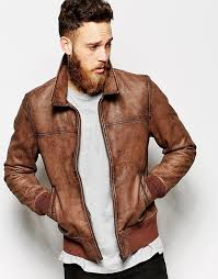jackets asos brand leather harrington