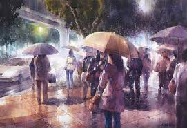 rainy watercolor paintings by lin ching che