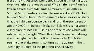 quantum dot commands light joint quantum institute sidebar on photonic crystal cavities click on image to more