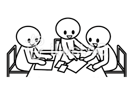 お題棒人間 グループワーク3人イラスト No 1371025無料