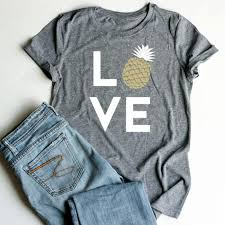 Plus In Love Size Chart Plus Size Summer Women T Shirt Tops Love Pineapple Print Gray Top O Neck Short Sleeve Casual T Shirt Female Tee Ladies 3xl