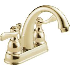delta windemere polished brass 2 handle 4 in centerset watersense bathroom sink faucet with drain