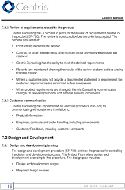 Procedure For Design And Development Centris Consulting Quality Control Manual Pdf Free Download