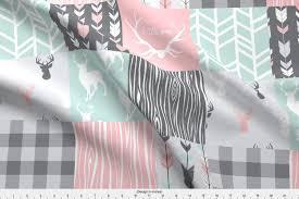 Sugar Pine Design Fabric Amazon Com Spoonflower Fabric Patchwork Deer Pink Mint