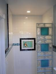 colored glass block shower in a small bathroom renovation glass tile bathroom wall ideas