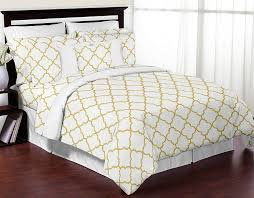 king skirt for white and gold trellis lattice queen size gray bedding sets home kitchen neutral
