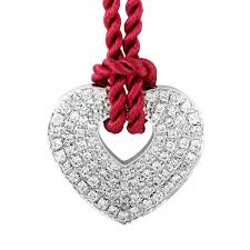 poiray 18k white gold diamond pendant burdy cord necklace ppc0030red