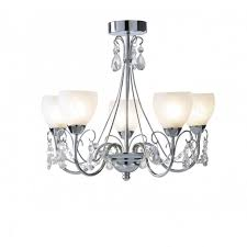bathroom chandelier ceiling light in chrome with opal glass shades
