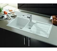 white kitchen sink. V \u0026 B Flavia 60 Kitchen Sink Ceramic Plus White 1.5 Bowl Drainer