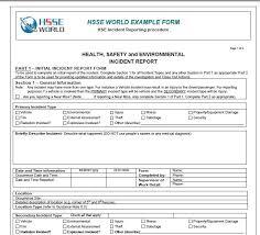 Incident Report Form Hsse World