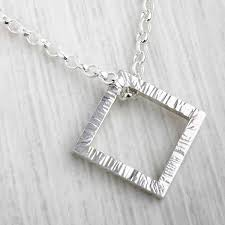 silver square necklace by emma white