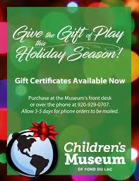 Holiday Gift Certificates Holiday Gift Certificates Childrens Museum