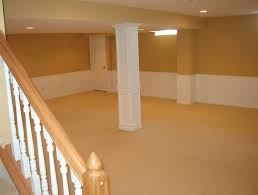 basement remodel ideas. Small And Low Ceiling Basement Design After Remodel With White Light Orange Painting Color Without Furniture Ideas
