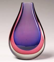 seguso sommerso blue purple sommerso art glass vase 30cm