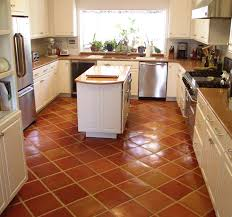 Tile Kitchen Floors Traditional Saltillo Terra Cotta Floor Tile In A Beautiful White
