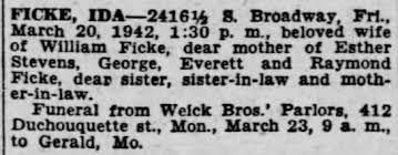 FICKE, IDA SHELTON OBIT 1942 - Newspapers.com