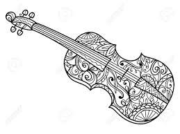 Violin Livre De Coloriage Pour Les Adultes Illustration Violon