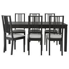 bjursta bÖrje table and 6 chairs brown black gobo white extendable dining table with 2 extra leaves seats makes it possible to adjust the table size