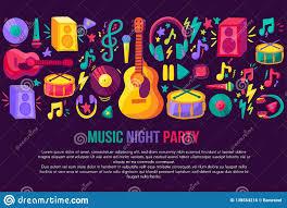 Concert Invite Template Musical Festival Invitation Template Stock Illustration