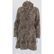 leopard print coat with hook and eye fastenings all the way up to the top of the collar as shown in image large collar when not done up to the top