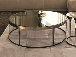 round mirrored glass coffee table amadeus mirrored glass coffee table by longhi
