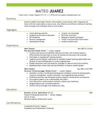 Free Teacher Resume Template Math Teacher Resume Download Free Teaching Resume Templates Best 1