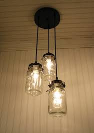 glass jar lighting. vintage canning jar chandelier glass lighting
