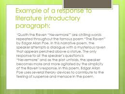 writing workshop response to literature essay author s literary  8 example of a response to literature